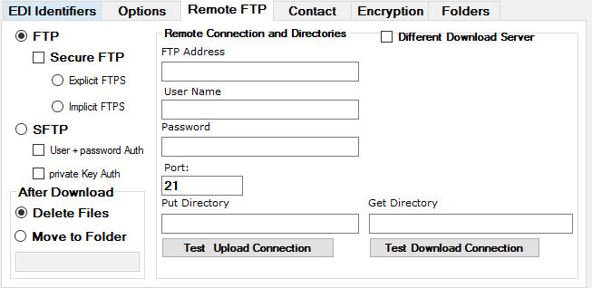 Screenshot - Setting up FTP options for a trading partner